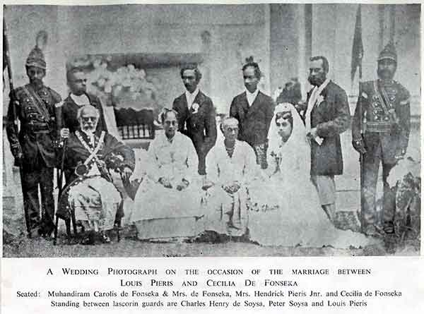 Wedding of Loius Pieris and Cecilia de Fonseka, Karava caste