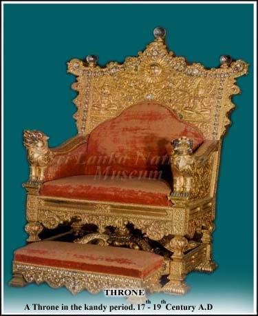 The royal throne of the Vaduga kings of Sri Lanka