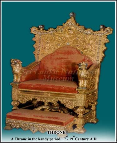 The Royal throne of the Kandyan kindgom with the sun and moon symbols of royalty
