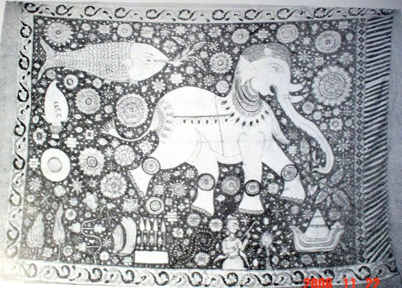 Ancient Elephant Flag of the Karava caste from Rathalaweva , Sri Lanka