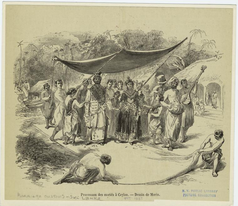 A Karava caste wedding procession from 1885, Sri Lanka