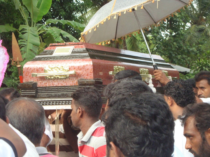 Karave caste Mutu Kuda Royal umbrella at funeral