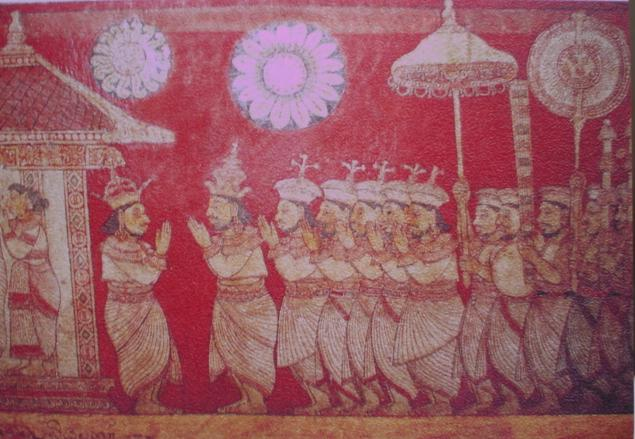 Mural of Sri Lankan king with Mutu Kuda - Pearl umbrella